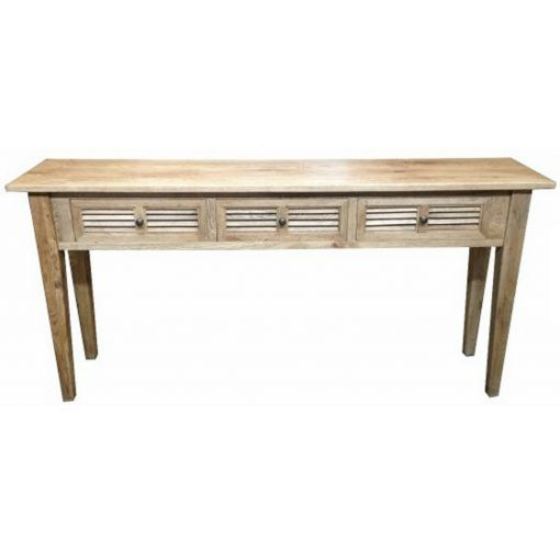 LORI LOUVRE STYLE RANGE - 3-DRAWER HALL TABLE / CONSOLE TABLE - OAKWOOD