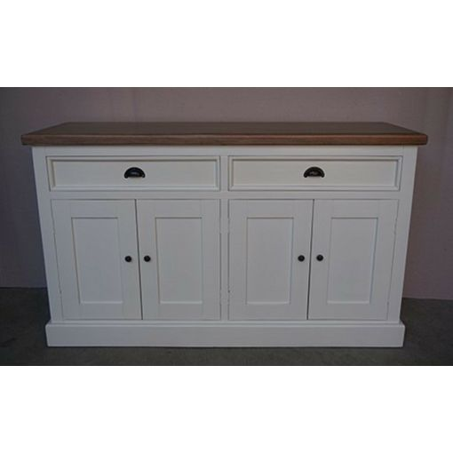 SHEBA 4-DOOR 2-DRAWER BUFFET/SIDEDBOARD NO BASKET - WHITE/NATURAL 145CMS.