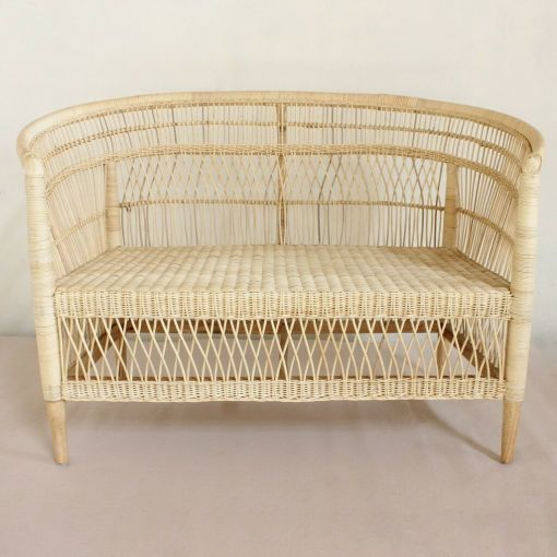 MOROCCO RATTAN 2-SEATER SOFA, COUCH, SETTEE, LOVE SEAT WHITE OR NATURAL