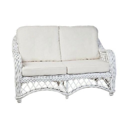 OLYMPIA WHITE RATTAN 2-SEATER SOFA, COUCH, SETTEE, LOVE SEAT WHITE UPHOLSTERY
