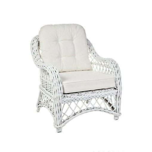 OLYMPIA WHITE RATTAN LOUNGE CHAIR/ ACCENT CHAIR/ARMCHAIR/EASY CHAIR