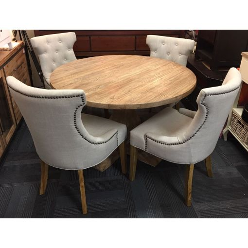 Solid Recycled Elm 1.2 Table + 4 Rio Dining Chairs