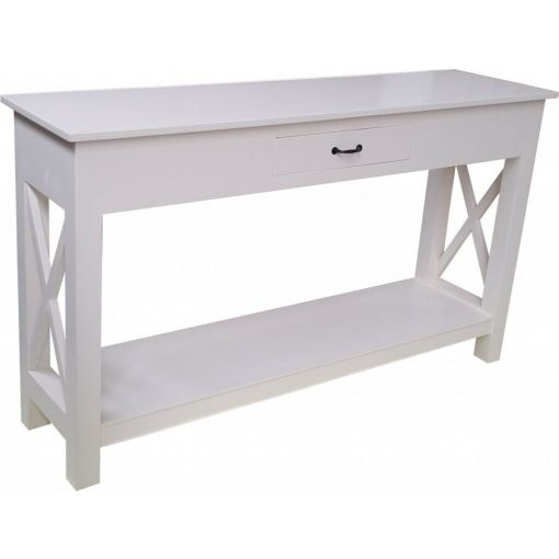 SHEBA CROSS CONSOLE TABLE / HALL TABLE - 1-DRAWER - WHITE