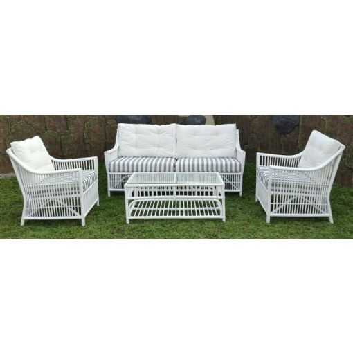 COLUMBUS SOLID WHITE RATTAN 2-SEATER SOFA/COUCH/SETTEE/LOVE SEAT