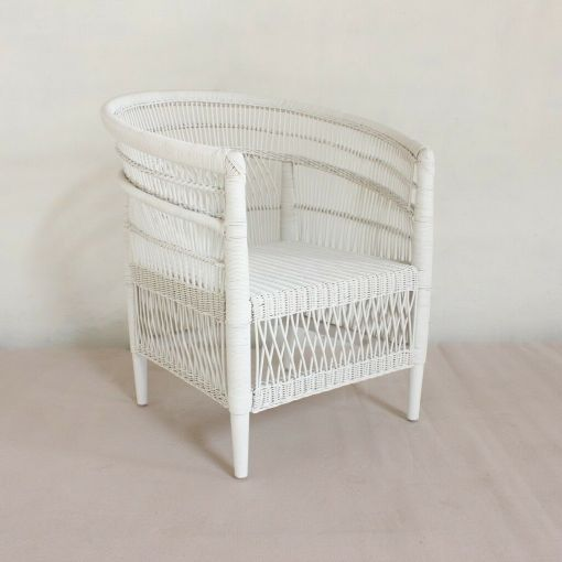 MOROCCO RATTAN LOUNGE CHAIR / ACCENT CHAIR/ ARMCHAIR - NATURAL OR WHITE