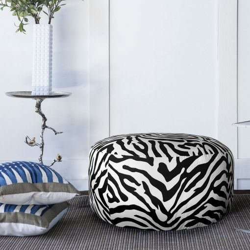 DORI LARGE ROUND ZEBRA OTTOMAN/FOOTSTOOL/POUF POUFFE/COFFEE TABLE