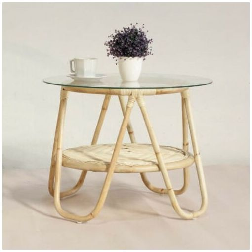 RATTAN ROUND SIDE TABLE GLASS TOP / ACCENT TABLE / LAMP TABLE - WHITE OR NATURAL