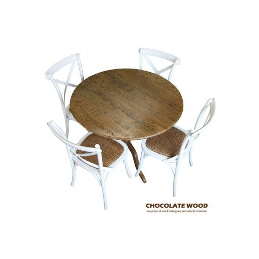 NORDIC ( D 100cm ) Stunning Solid oak round dining table with pedestal + 4 white cross back dining chairs