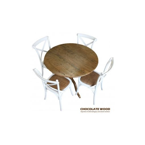 Stunning Solid oak round dining table with pedestal + 5 white cross back dining chairs - 120cm