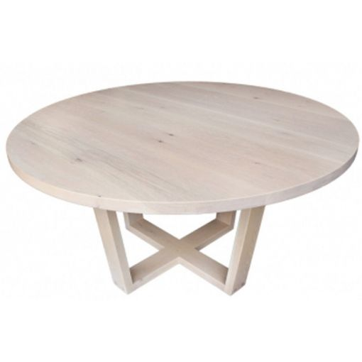 CUSTOM  MADE  Solid tasmanian oak cross round dining table 120cm