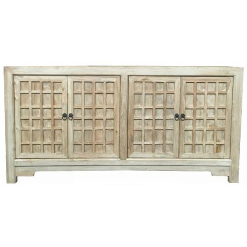 Chinese Antique 4 Door Buffet Lattice Doors