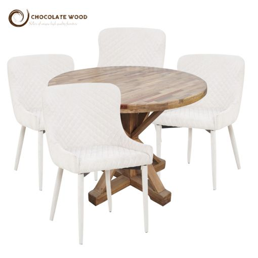 Online Cheap Anderson Dining Table + 4 Fabric white chairs