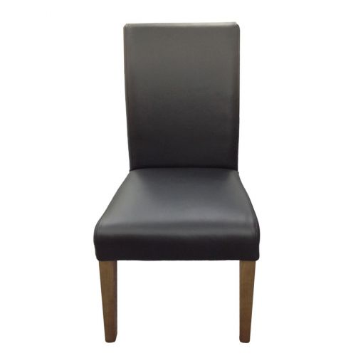 Albertali Top Grain Leather Dining Chair, Black / French Grey