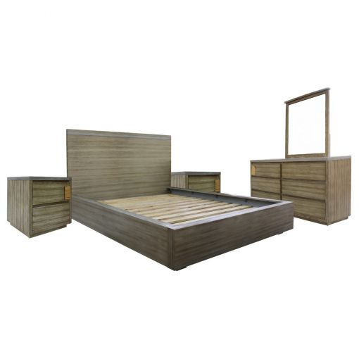 FlaviA 4 Piece Acacia Timber Bedroom Dresser Suite, King
