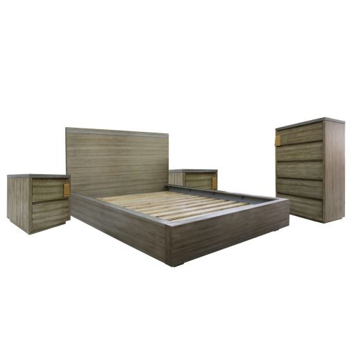 Flavia 4 Piece Acacia Timber Bedroom Tallboy Suite, Queen