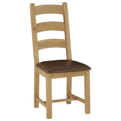 Chesa Oak Timber Dining Chair with PU Leather Seat