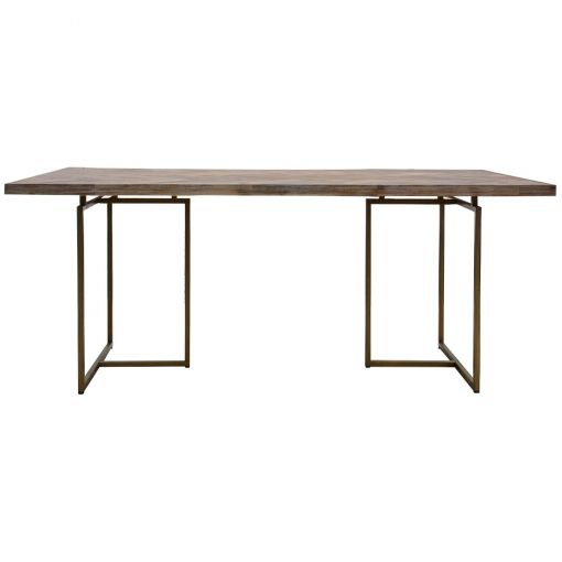 Nony Acacia Timber & Metal Dining Table, 210cm