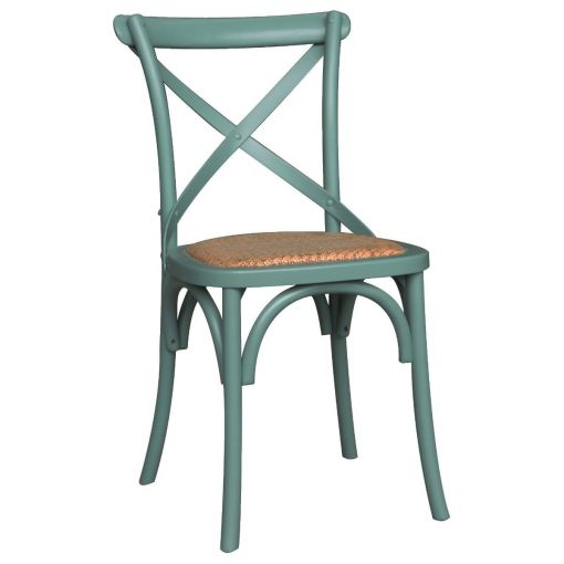 Sharwood Oak Timber Cross Back Dining Chair with Rattan Seat, Arctic Blue