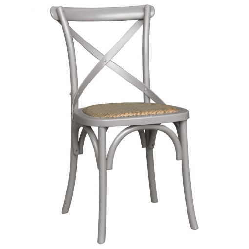 Sharwood Oak Timber Cross Back Dining Chair with Rattan Seat, Pewter Grey