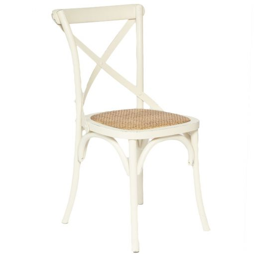 Sharwood Solid Oak Timber Cross Back Dining Chair with Rattan Seat - Distressed White