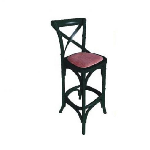 Sharwood Solid Oak Timber Cross Back Bar Chair with Rattan Seat, Distressed Black