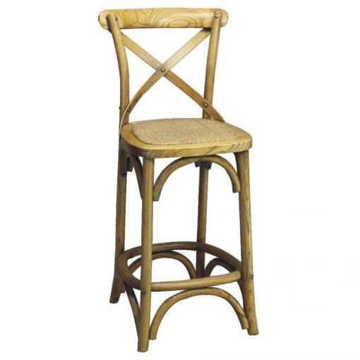 Sharwood Solid Oak Timber Cross Back Counter Chair with Rattan Seat, Distressed Natural