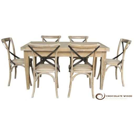 Cheap Dining Table with 6 Cross Back Chairs Package