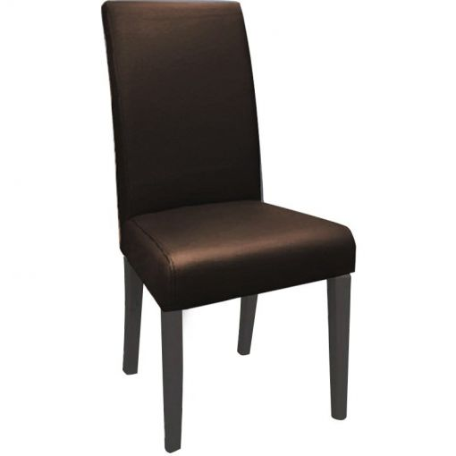 Snek Top Grain Leather High Back Dining Chair with Dark Legs - Brown