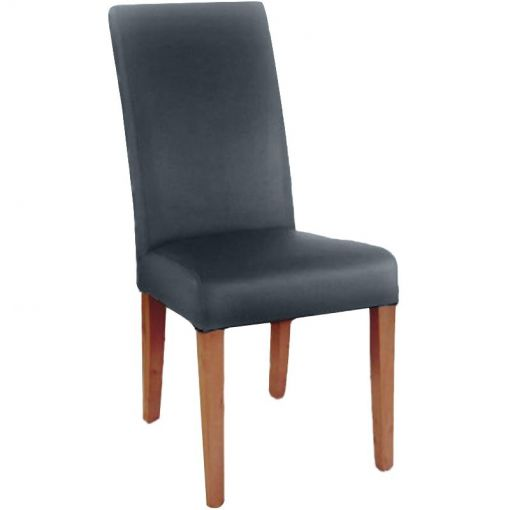 Snek Top Grain Leather High Back Dining Chair with Light Honey Legs - Black