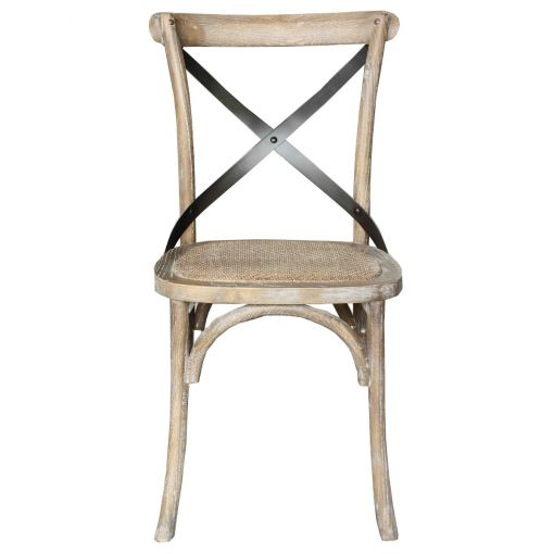 Sharwood Metal Cross Back Oak Timber Dining Chair with Rattan Seat, Grey Wash