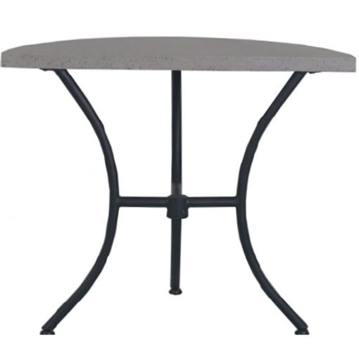 Cerch Cement Topped Iron Semi Round Balcony Table, Grey