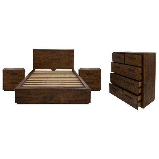 Marland 4 Piece Pine Timber Bedroom Tallboy Suite, Queen
