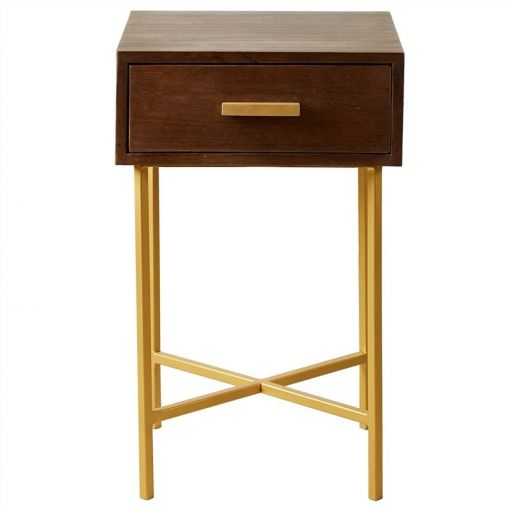 Caru Solid Mango Wood Timber and Iron 1 Drawer Side Table