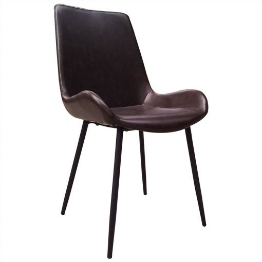 Dunsta PU Leather Upholstered Metal Dining Chair, Vintage Dark Brown
