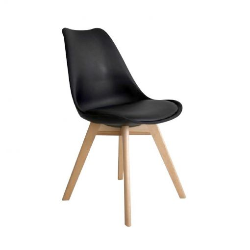 Aksoul Dining Chairs with PU Seat - Black/Natural