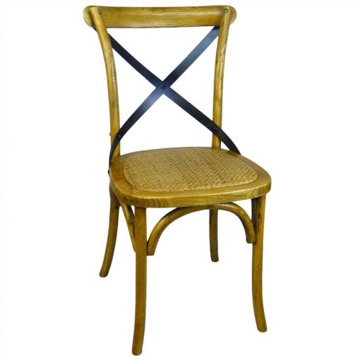 Sharwood Metal Cross Back Oak Timber Dining Chair with Rattan Seat, Natural