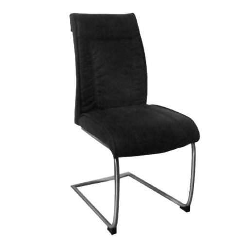 Vanturi Fabric Upholstered Metal Dining Chair, Charcoal