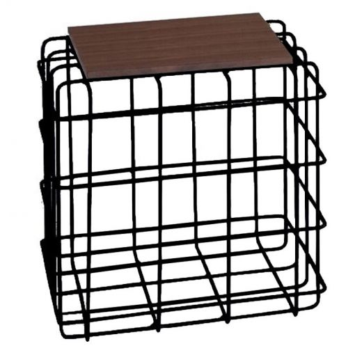 Wascol Metal Wire Square Side Table with Wooden Top