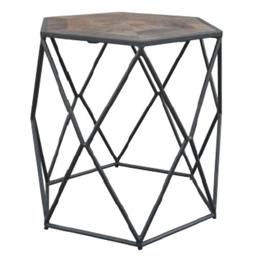 Alvas Metal Wire Side Table with Wooden Top