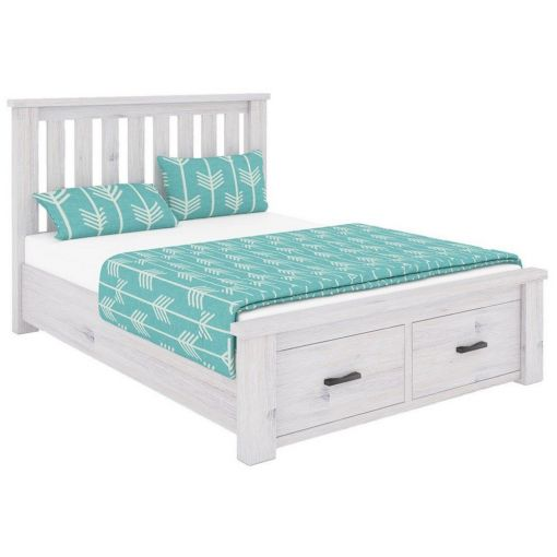 Brock Acacia Timber Bed with End Drawers, King
