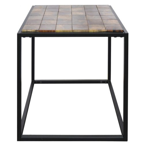 Traves Parquetry Timber & Metal Side Table
