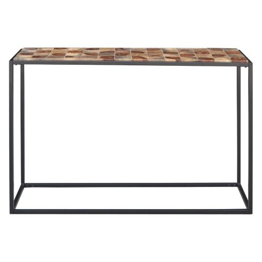 Traves Parquetry Timber & Metal Console Table, 122cm