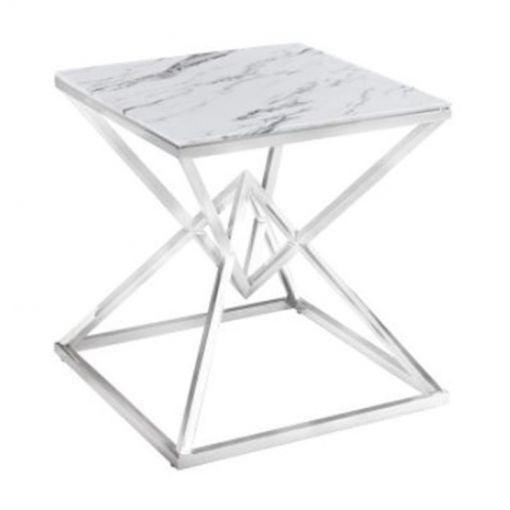 Hanx Glass Topped Stainless Steel Lamp Table