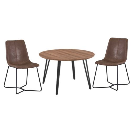 Bonbury 5 Piece Round Dining Table Set, 120cm, with Brown Keresley Chairs