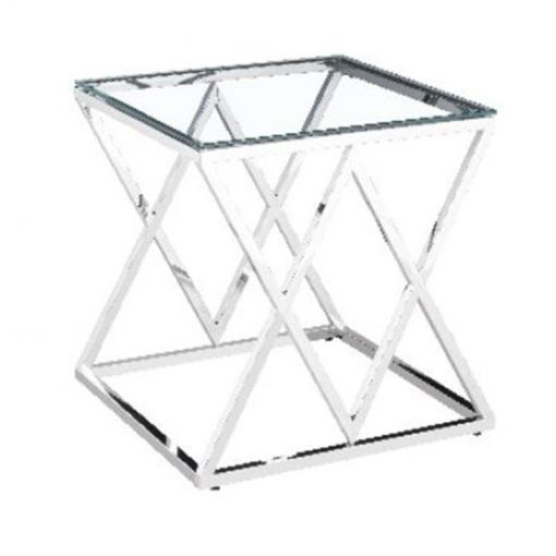 Morde Glass Topped Stainless Steel Lamp Table