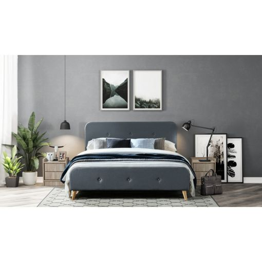 Millar Fabric Bed, Double, Charcoal