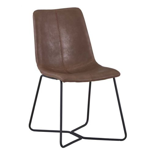 Kereslei PU Leather Dining Chair, Brown