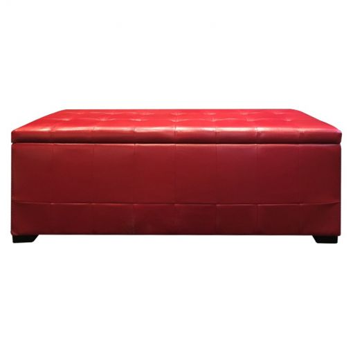 Axti Faux Leather Storage Ottoman Bench, 128cm, Red