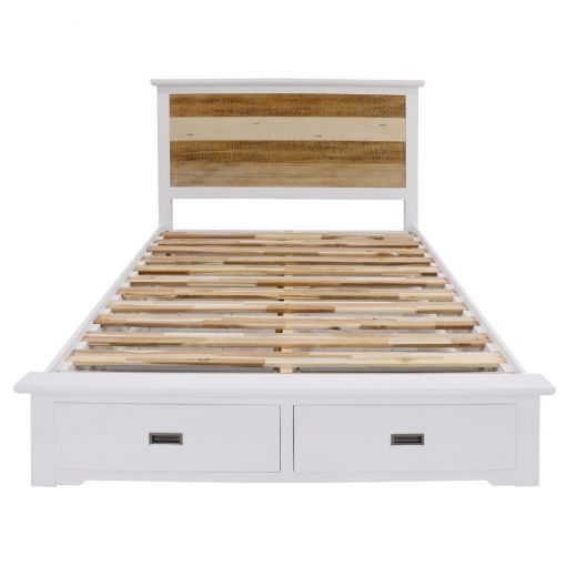 Lago Acacia Timber Bed with End Drawers, Queen
