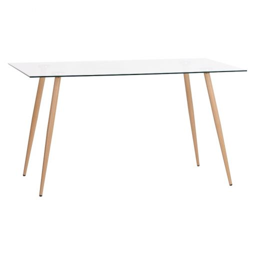 Zolfin Tempered Glass Top Dining Table, 140cm